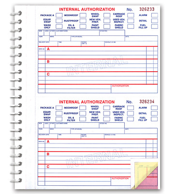 Car Dealer Internal Authorization Book