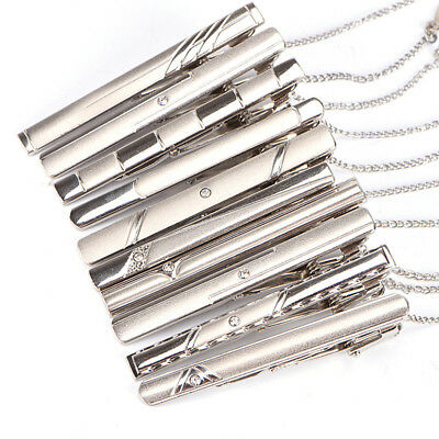 Men Silver Necktie Tie Clips Stainless Steel Plain Clasp Bars Pins Clips G$CA