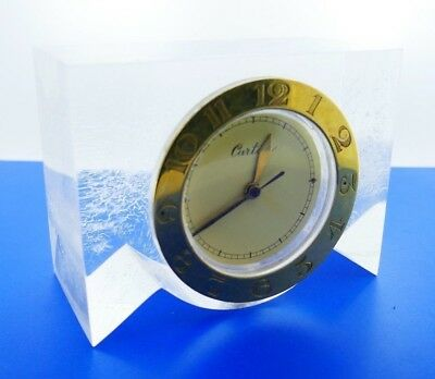 CARTIER Vintage Gold & Lucite Desk Clock Rare