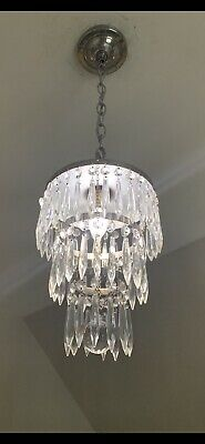 Beautiful Antique Silver Plate Crystal 3 Tier Wedding Cake Chandelier