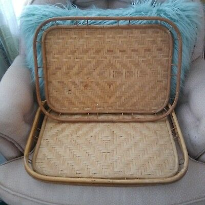 Lot Of 3 Vintage Bamboo Woven Rattan Wicker Tiki Serving Trays 13 X 19