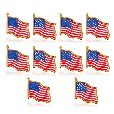10pcs High Quality American Waving Flag Lapel Pins - Patriotic US USA U.S. U.S.A