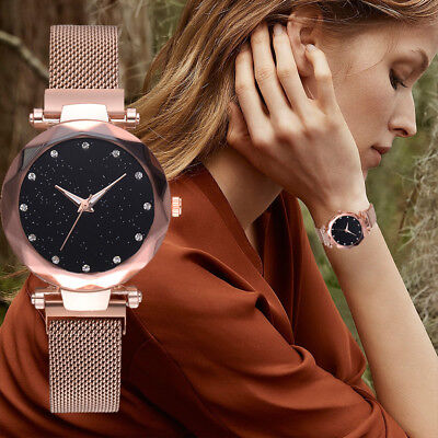 Fashion Starry Sky Quartz Mesh Womens Watch Diamond Elegant Analog Wrist Watch