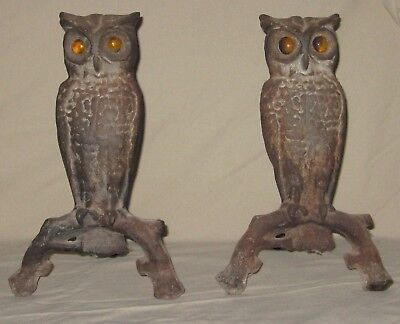 Antique Cast Iron Pair Owl Fireplace Andirons Original Amber Glass Eyes Old