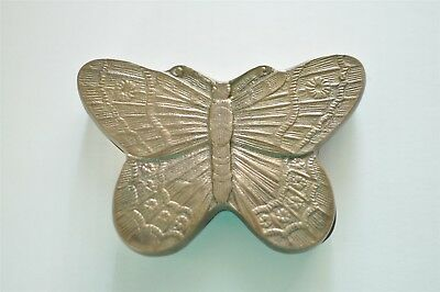 Vintage Solid Brass Butterfly Jewelry Box, Trinket Keeper. Change Dish, Ashtray
