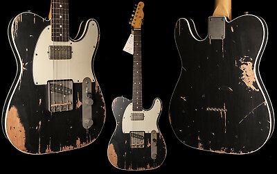 Nash T-63 Double Bound Black Telecaster Guitar - Heavy Aging
