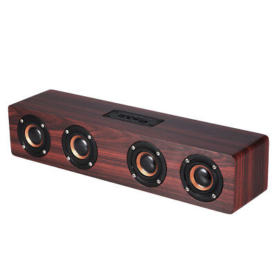 Wooden Wireless Bluetooth Speaker Portable Stereo Bass Subwoofer Hfi AUX TF Mic