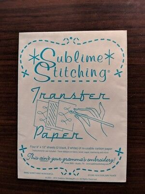 """NEW Sublime Stitching Transfer Paper - Four 9x12"""" sheets reusable carbon paper"""