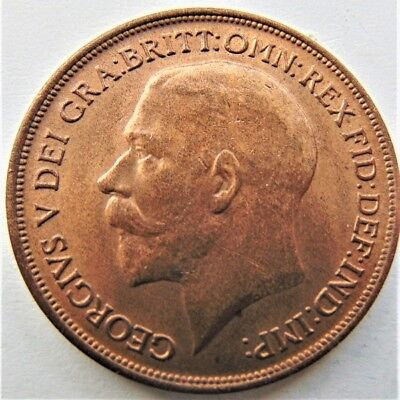 1917 GREAT BRITAIN GEORGE V PENNY nicely struck with original orange UNCIRCULATE