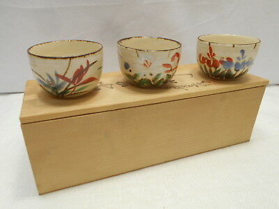 Japanese Tea Ceremony Pottery Bowl Set x 3 Chanoyu Traditional Vintage #170