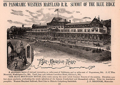 1893 B Ad Blue Mountain House Resort Hotel