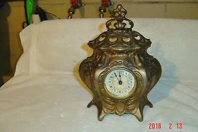 Cast Iron / Bronze Pat 1885 Footed Mantle / Shelf Victorian Wind up Alarm Clock