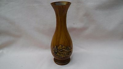Vintage Rare Plastic Vase From Switzerland In A Wood Effect With Carved Chalet