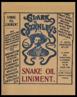 Snake Oil Quack Medicine Advertisement Poster Reprint On 100 Year Old Paper P003