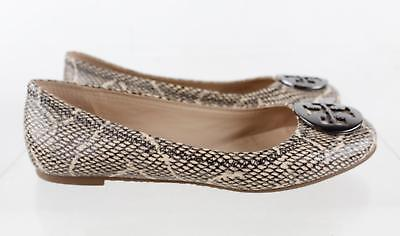 Tory Burch Brown Python Print Leather Round Toe Ballet Flats Size 7.5M