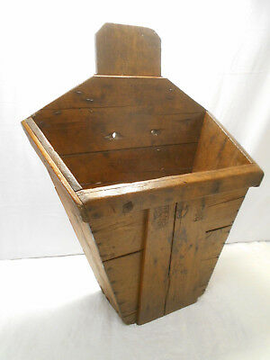 Antique Japanese Wooden Fish Bucket Carry Basket Creel Backpack C1930s  #3