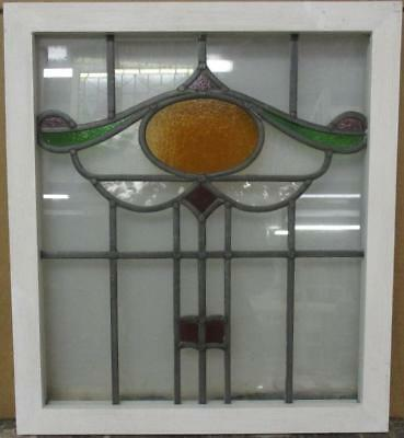 "OLD ENGLISH LEADED STAINED GLASS WINDOW Pretty Oval Sweep Design 18.75"" x 21"""