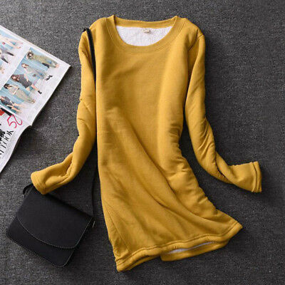 Womens Fleece Lined Fit Slim Shirt Blouse Thick Warm Thermal Stretch Tops Winter