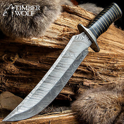 """15"""" Timber Wolf Damascus Hunting Survival Army Bowie Fixed Blade Knife w/ Sheath"""