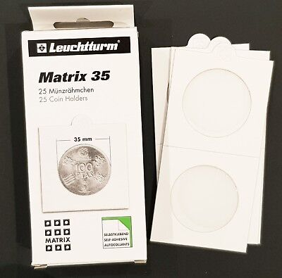 Lighthouse 2X2 Self-adhesive Coin Holder 35mm Fit Aussie 50c Coins Pack of 25