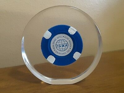 MGM Grand Reno Nevada Poker Chip Acrylic Lucite Paperweight