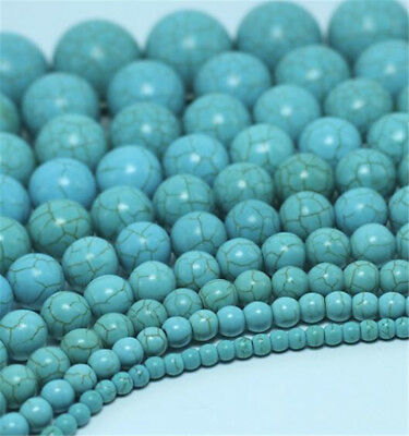 "1pcs Turquoise Gemstone Loose Bead 15.5"" Spacer Natural Round Shining DIY"