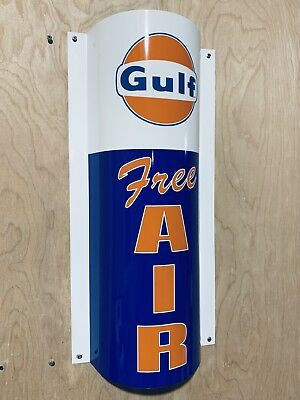 GULF Free Air Curved Metal  Gasoline Gas sign Pump Oil Gasoline WOW!!!