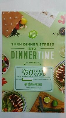 HELLO FRESH - $50 Gift Card ($25 Off First 2 Boxes), NEW and Unused