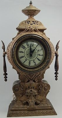 Antique Mystery Clock Heavy Ornate Cast Metal For Parts / Repairs Beautiful Case