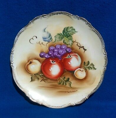 Beautiful Hand Painted Signed Vintage Porcelain Fruit Plate 10 1/2""