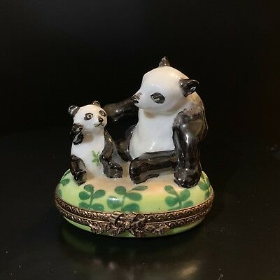 Rochard Limoges Pandas Trinket Box - Hand Painted and Signed