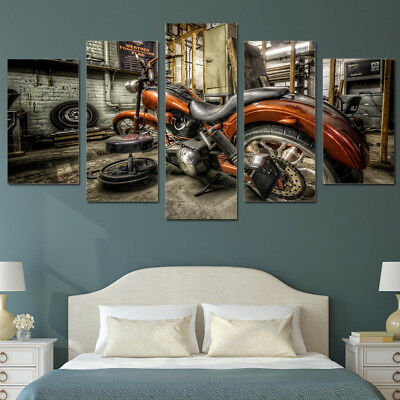 Vintage Harley Davidson Motorcycle 5 Panel Canvas Print Wall Art Poster Decor