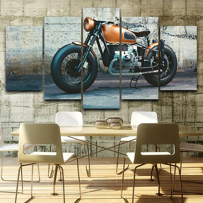 Vintage Motorcycle Daze Bike Poster 5 Panel Canvas Print Wall Art Home Decor
