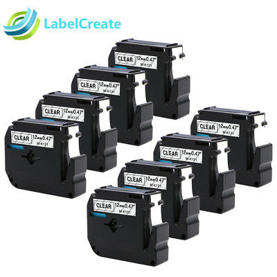 8 PK M-K131 MK131 Compatible for Brother P-touch Label Tape Black on Clear PT110