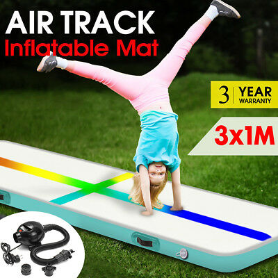 3x1M Inflatable Air Track Mat Tumbling Pump Floor Home Gymnastics Gym Red NEW