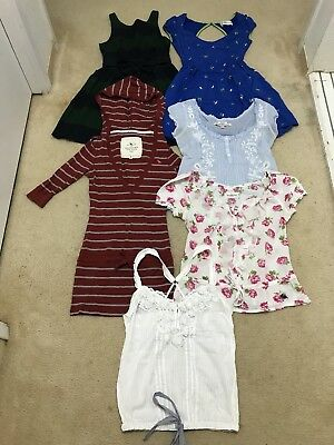 Lot Of 6 Abercrombie & Fitch Stripe Peasant Ruffle Tank Top Dress 00 XS X Small