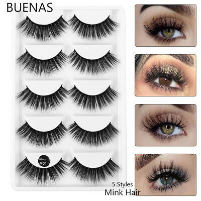 36e8c52718e BUENAS 5 Pair 3D Pure Mink Hair False Eyelashes Multilayers Wispy Fluffy  Makeup
