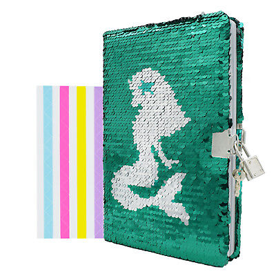 Ruled Lined A5 Notebook Diary w/ Lock Mermaid Sequin Journal School Stationery