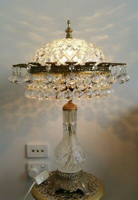Vintage Brass and Crystal Dome Table Lamp Laden with Crystals