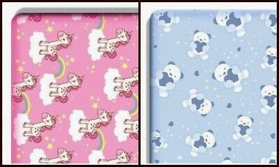 New Printed Cot Fitted Sheets Teddy Bear & Unicorn 100% Cotton 60 x 120cm
