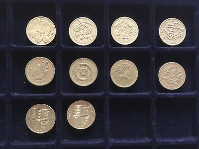 JOB LOT of 10 x £1 COINS Collectable OLD VERSION Commemorative CIRCULATED Rare