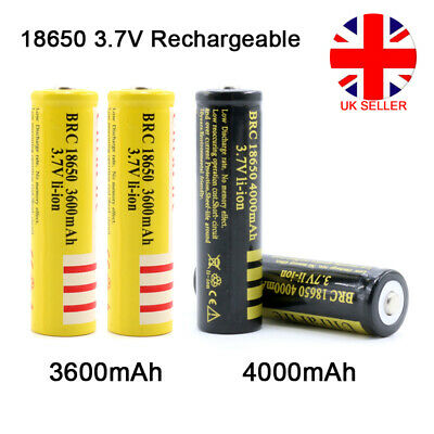 UK BRC 18650 3600mAh 4000mAh 3.7V Rechargeable Li-ion Lithium Power Battery Cell
