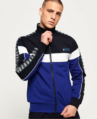 New Mens Superdry SD Tricot Panelled Track Top Track Navy
