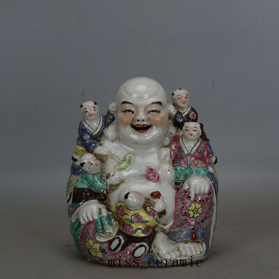 "6.4""Minguo China antique Porcelain famille rose The five sub arhat Buddha statue"