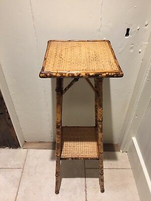 Lovely Original Bamboo Victorian Tall Planter With Lower Shelf