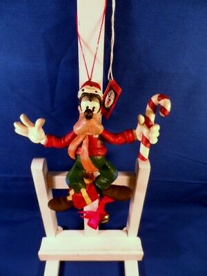 Disney Midwest Goofy with Candy Cane Pull String Moving Ornament New with Tags!