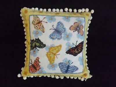 "Butterfly Needlepoint 15"" Square Decorative Pillow Round Tassels EXC Firm Insert"