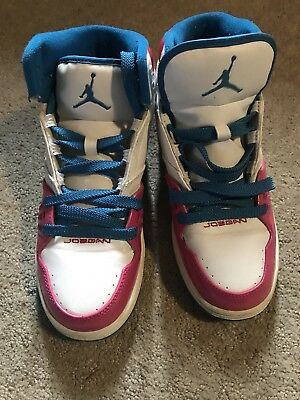 85893ccdac47ac NIKE Jordan Flight 23 371389-141 White Pink Blue Sneakers Youth Girls Sz