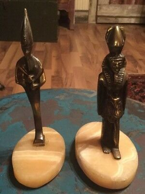 2 Copper Or Brass Ancient Egyptian Pharaoh, onyx base figurine.