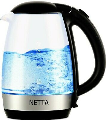 NETTA Illuminated Cordless Electric Glass Kettle Jug 2200W 1.7L LED Portable